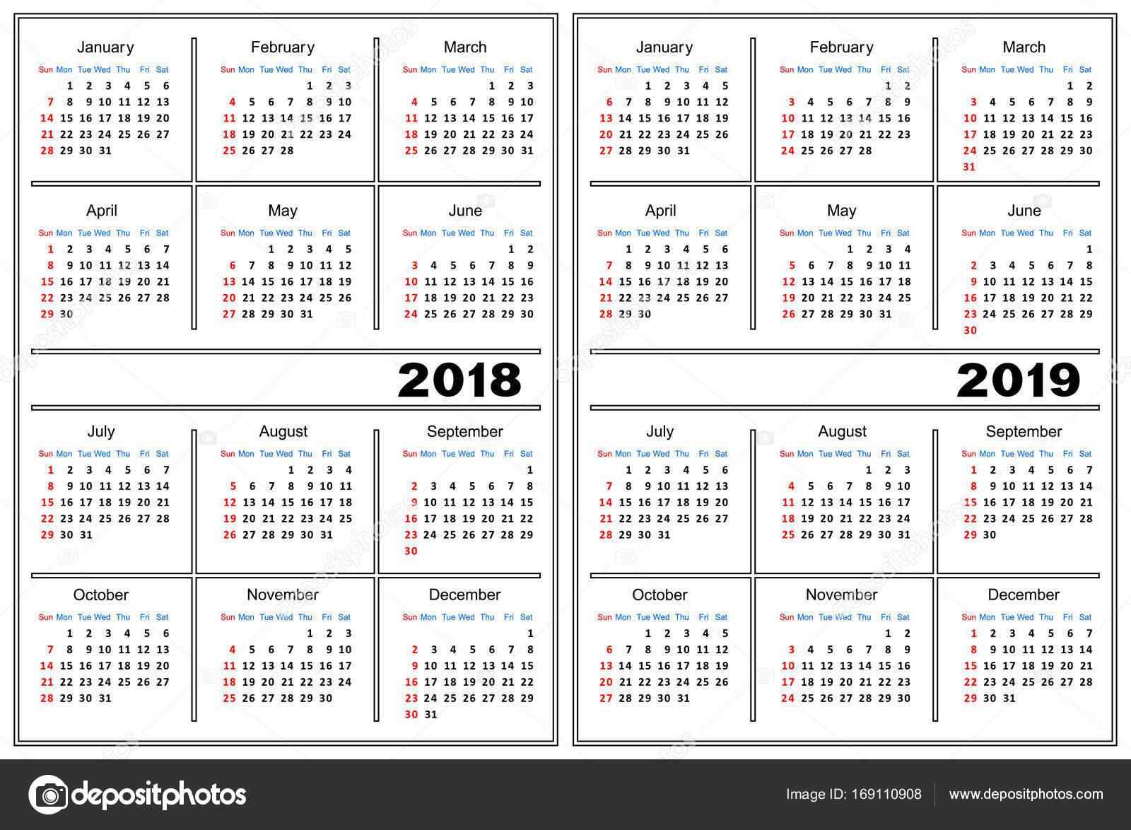 Plantilla Calendario 2018 2019 Archivo Imágenes