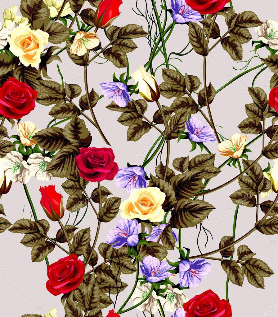 Classic wallpaper seamless vintage flower pattern