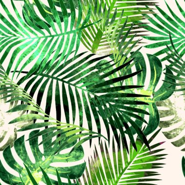 Exotic tropical rainforest plants opulent green leaves seamless pattern abstract vector illustration. stock vector