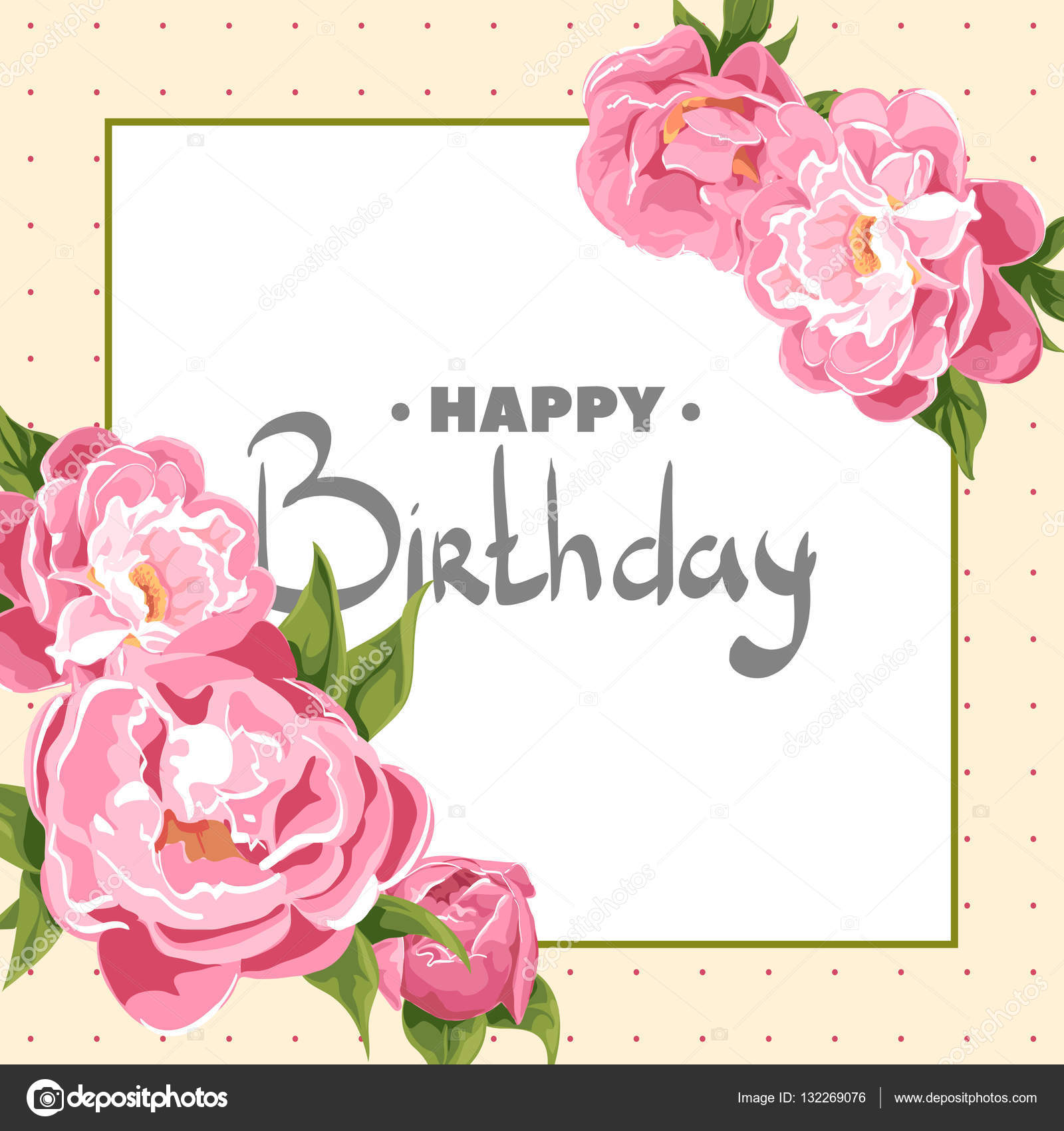 Greeting Card With Flowers Birthday Stock Vector Chisnikov