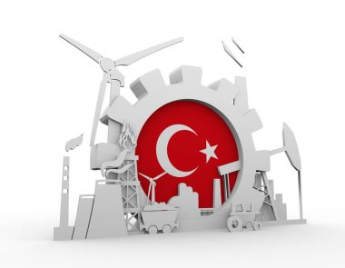 Energy and Power icons set with Turkey flag