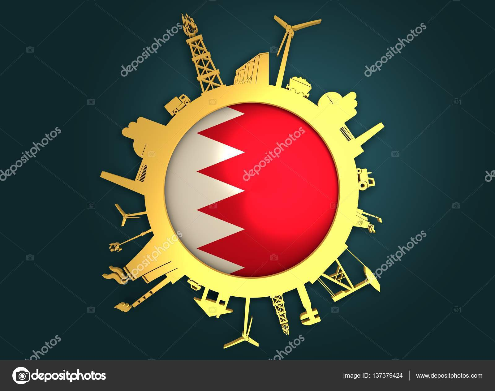 Circle with industry relative silhouettes  Bahrain flag