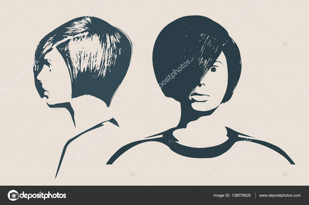 silhouette of a female head face profile and front views stock