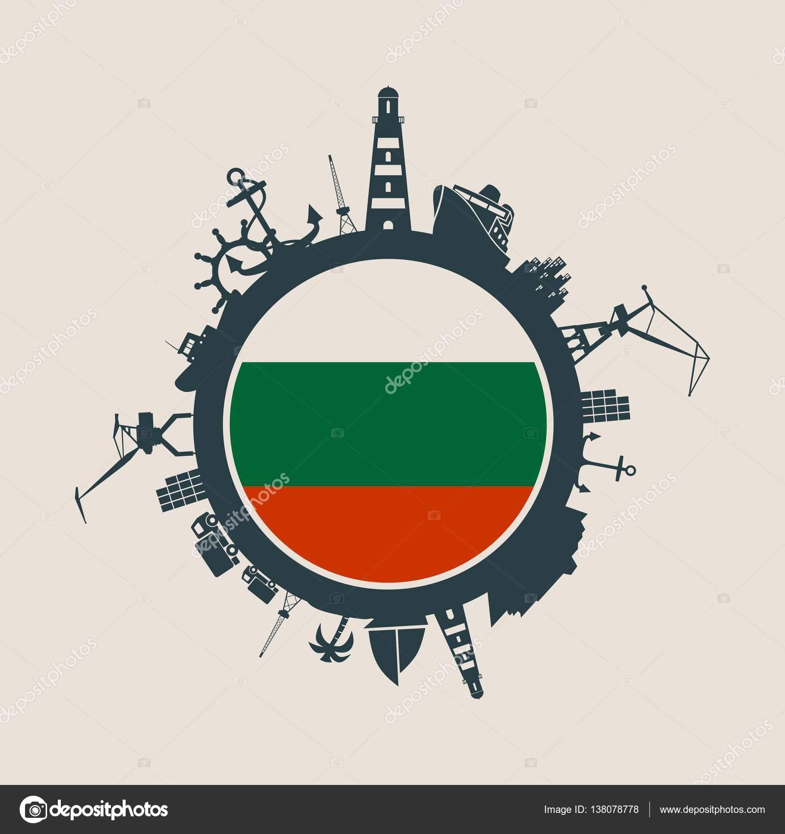 Cercle avec port de chargement et de silhouettes relatives de voyage.  Drapeau de la Bulgarie d0876c76303