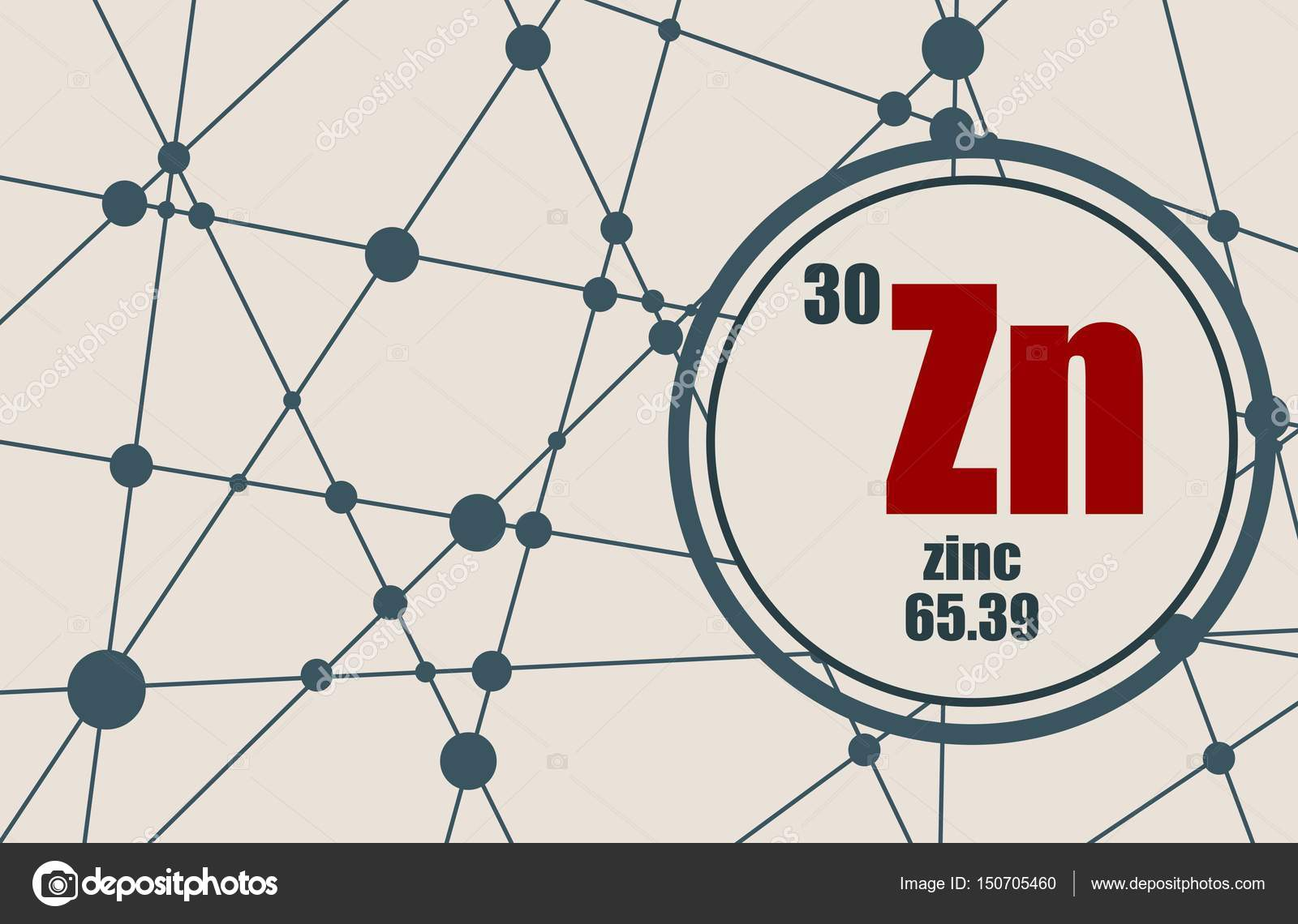 Elemento qumico del cinc vector de stock jegasra 150705460 elemento qumico del zinc firmar con el nmero atmico y peso atmico elemento qumico de tabla peridica molcula y el fondo de la comunicacin urtaz Images
