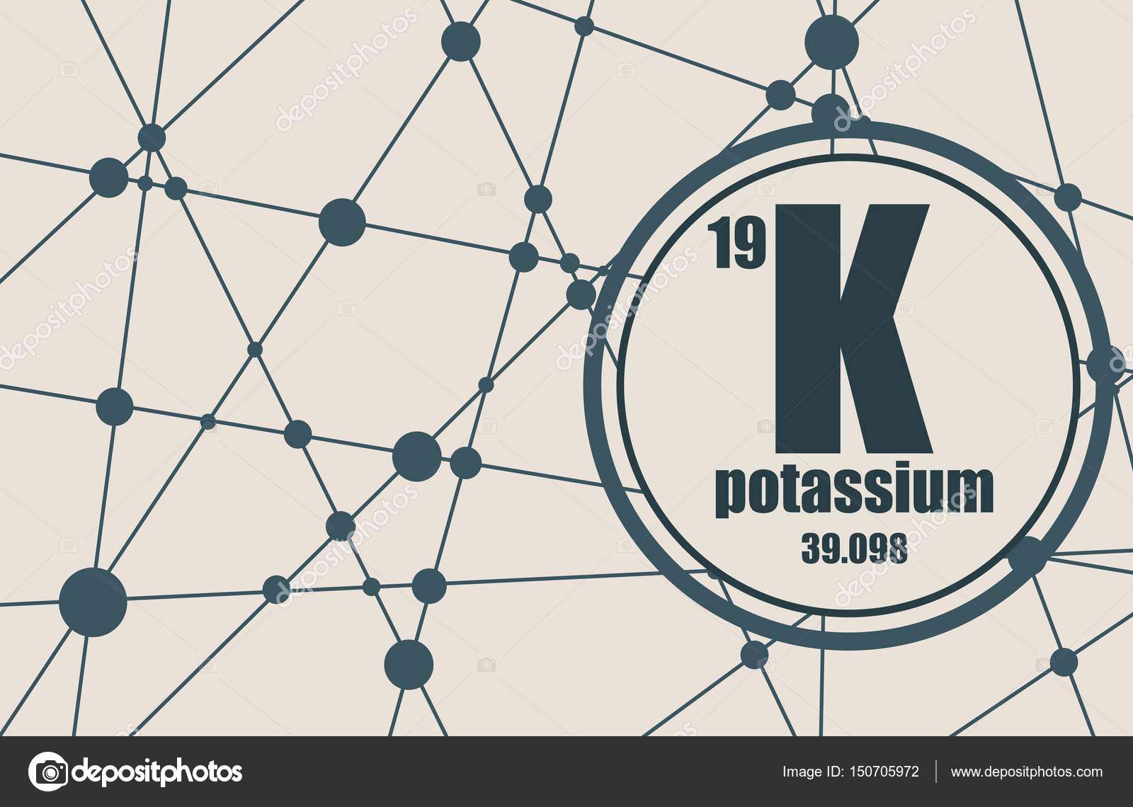 Potassium chemical element stock vector jegasra 150705972 potassium chemical element sign with atomic number and atomic weight chemical element of periodic table molecule and communication background buycottarizona