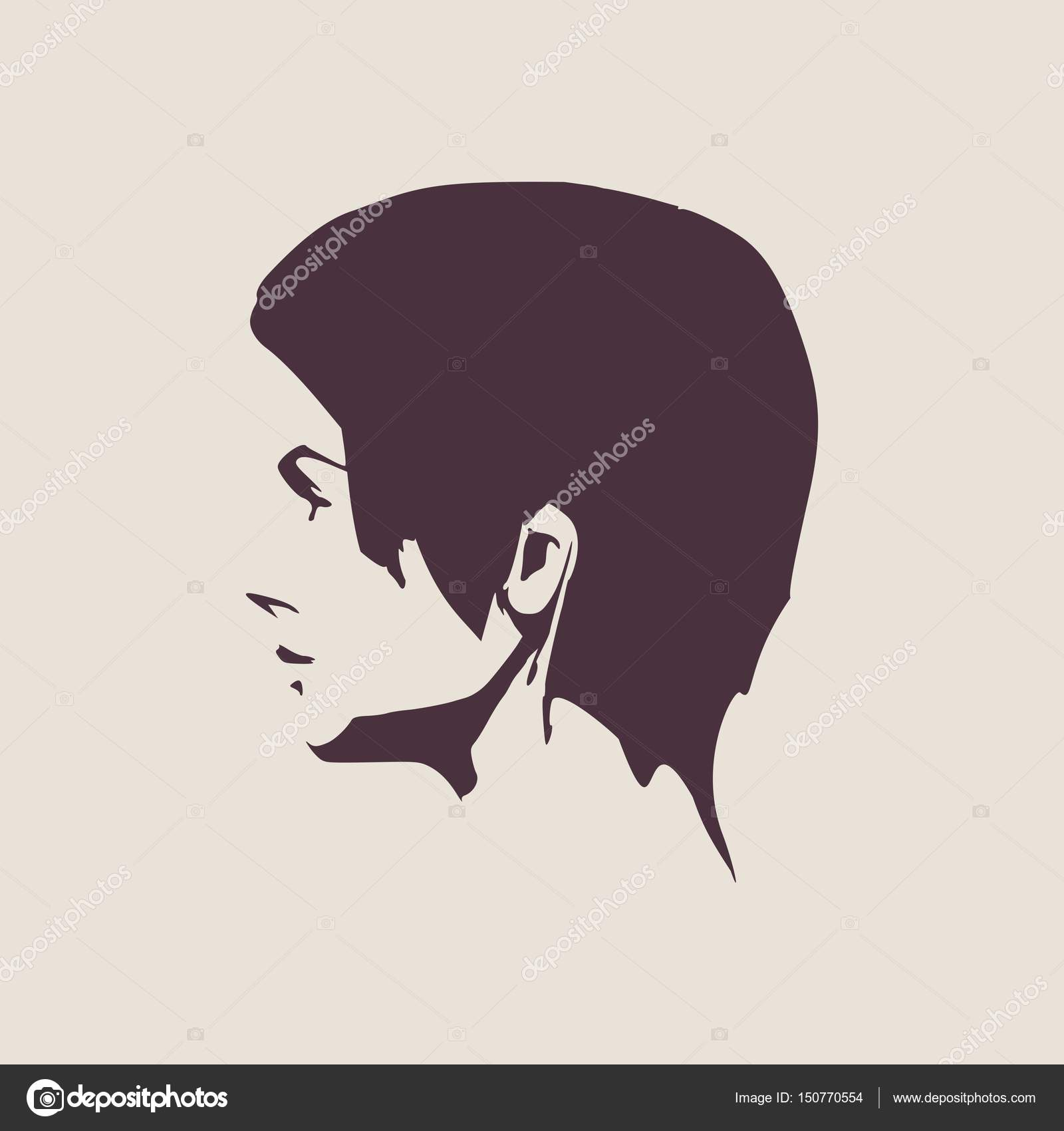 face side view elegant silhouette of a female head vector illustration short hair monochrome gamma vector by jegas_ra