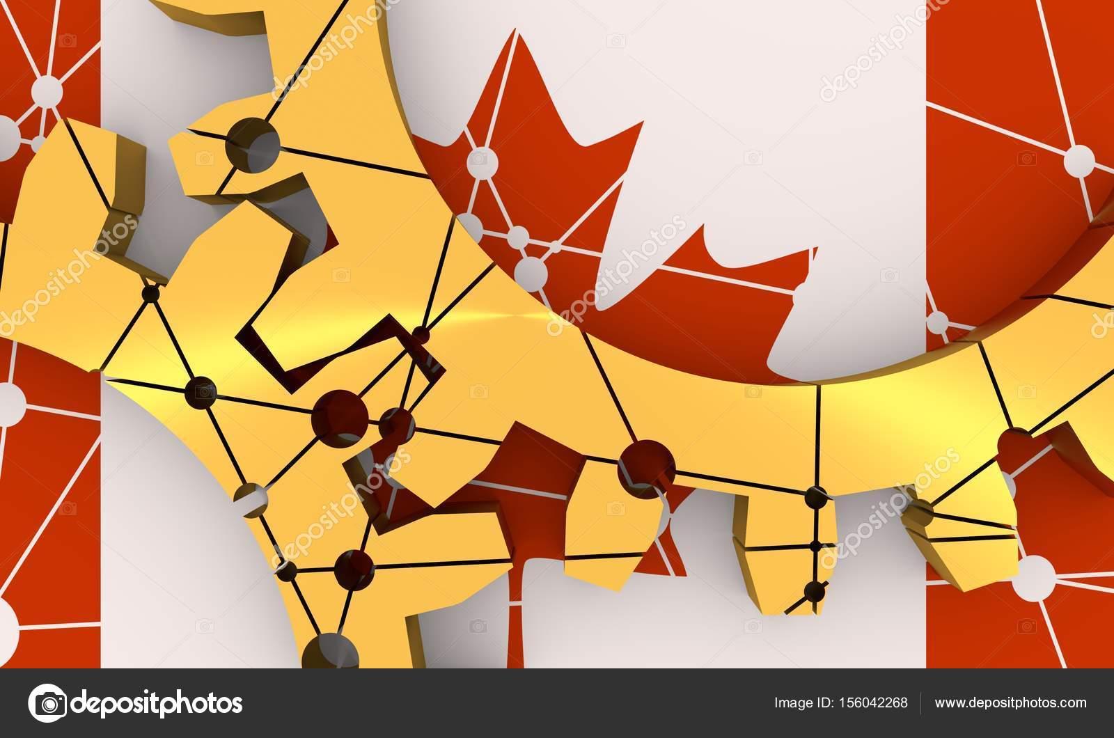 Conectar engranajes materiales metálicos. Bandera de Canadá — Foto ...