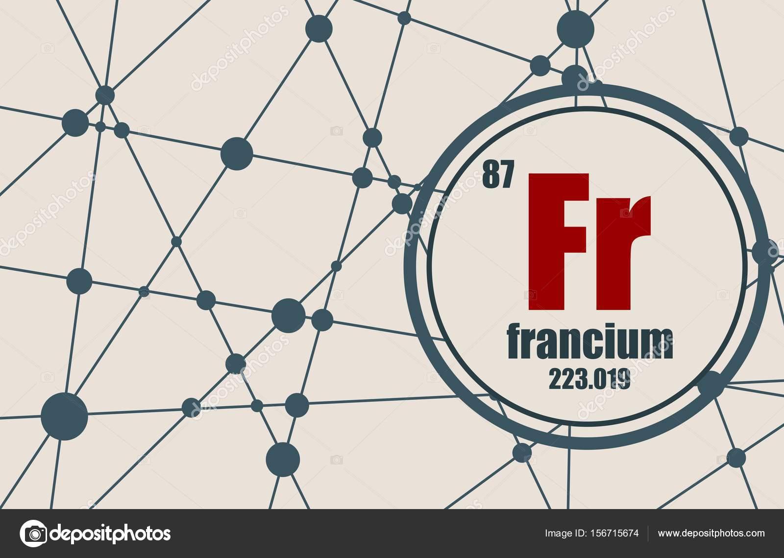 Elemento qumico del francio vector de stock jegasra 156715674 elemento qumico del francio firmar con el nmero atmico y peso atmico elemento qumico de tabla peridica molcula y el fondo de la comunicacin urtaz Choice Image