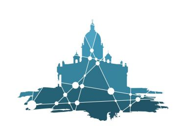 Silhouette of the Saint Isaacs Cathedral in Saint Petersburg Russia. Modern minimalist icon on grunge brush. Connected lines with dots. clip art vector