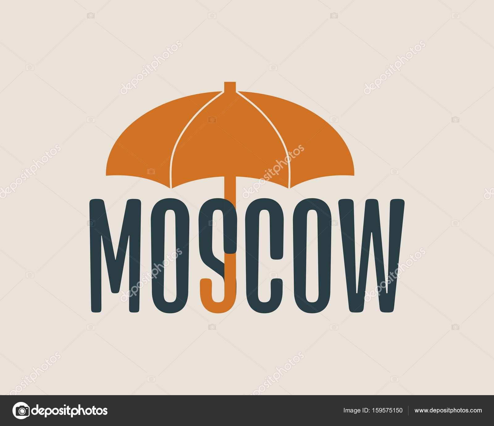 Palabra de Moscú bajo paraguas — Archivo Imágenes Vectoriales ...