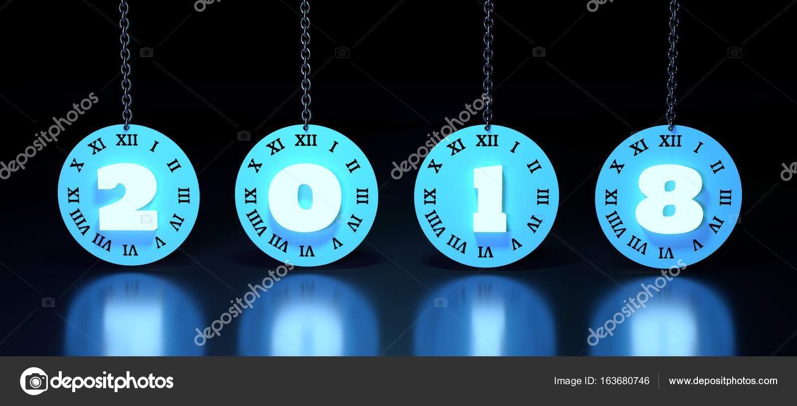 448 En Numeros Romanos Cara De Reloj Con Número 2018 Foto De