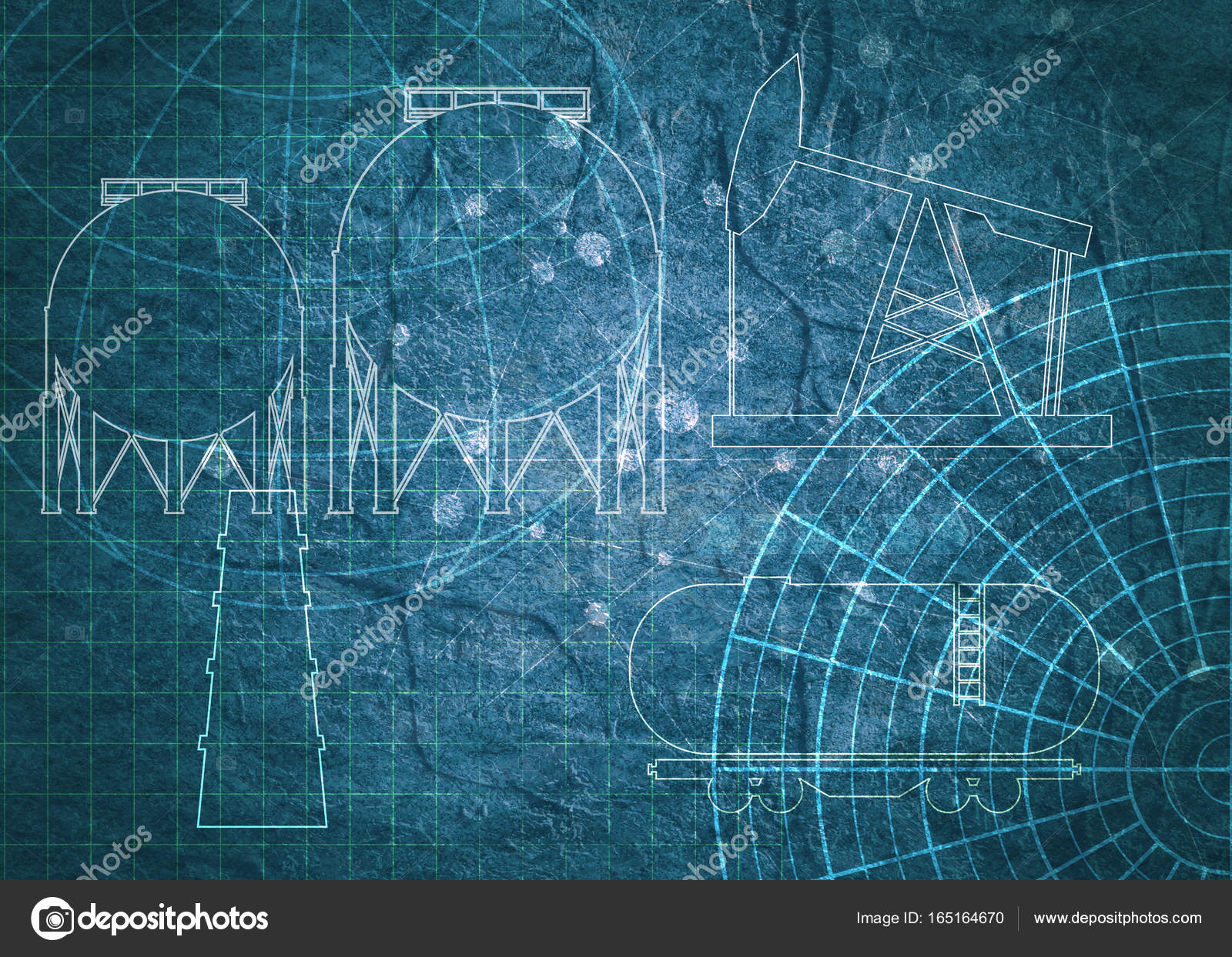Technical blueprint background stock photo jegasra 165164670 old blueprint background texture technical backdrop paper outline silhouettes on concrete textured backdrop photo by jegasra malvernweather Gallery