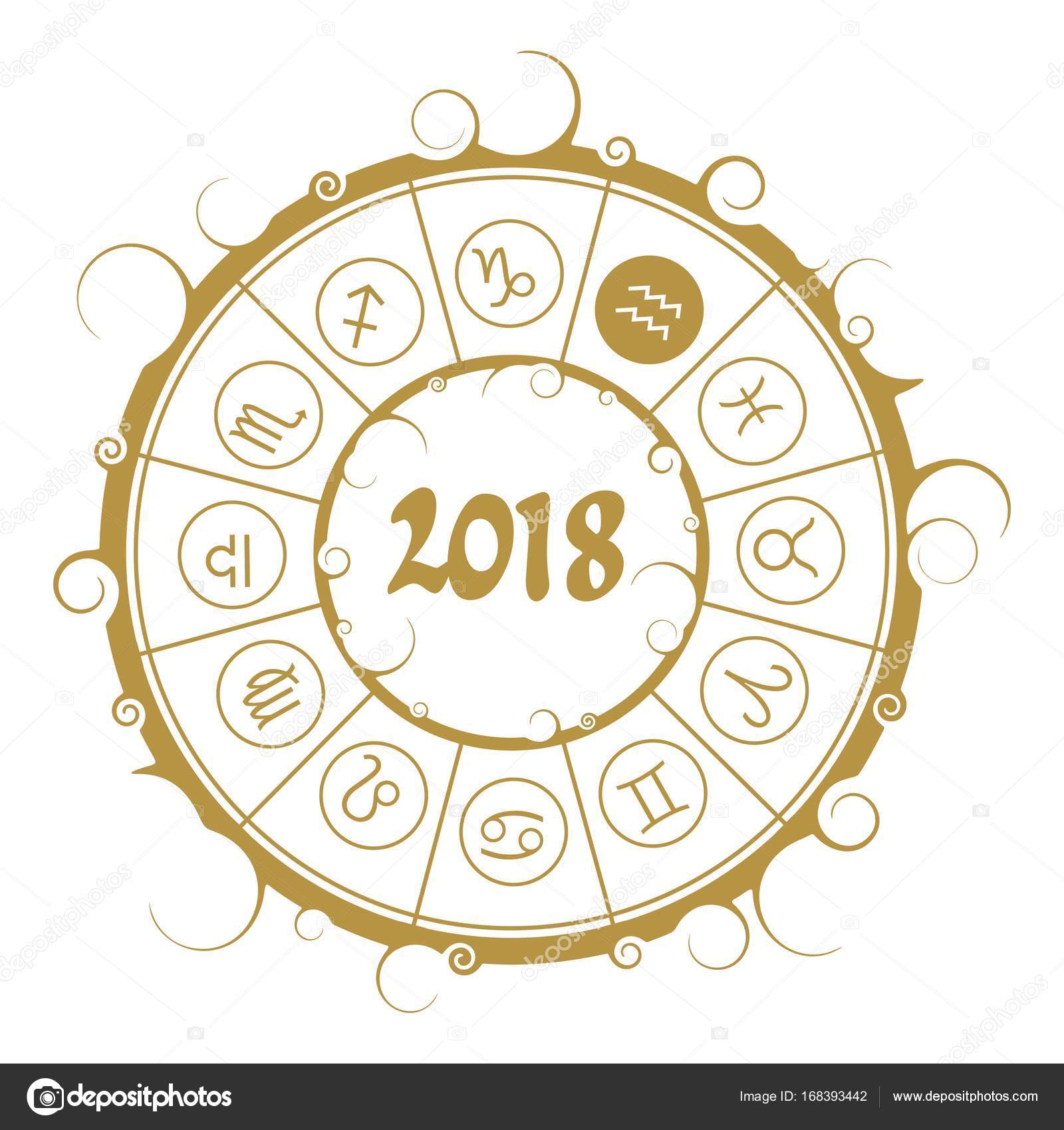 Astrology symbols in circle water bearer sign stock vector astrological symbols in the circle water bearer sign new year and christmas celebration card template zodiac circle with 2018 new year number biocorpaavc Choice Image