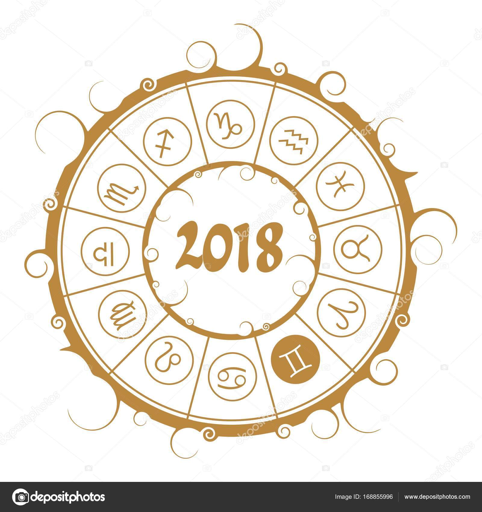 Astrology symbols in circle gemini sign stock vector jegasra astrological symbols in the circle gemini sign new year and christmas celebration card template zodiac circle with 2018 new year number buycottarizona