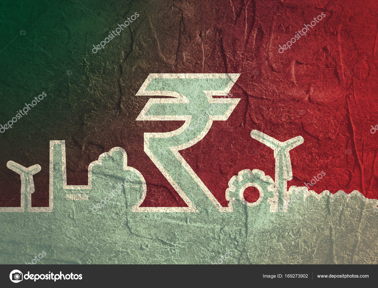 Indian Rupee Symbol And Industrial Icons Stock Photo Jegasra
