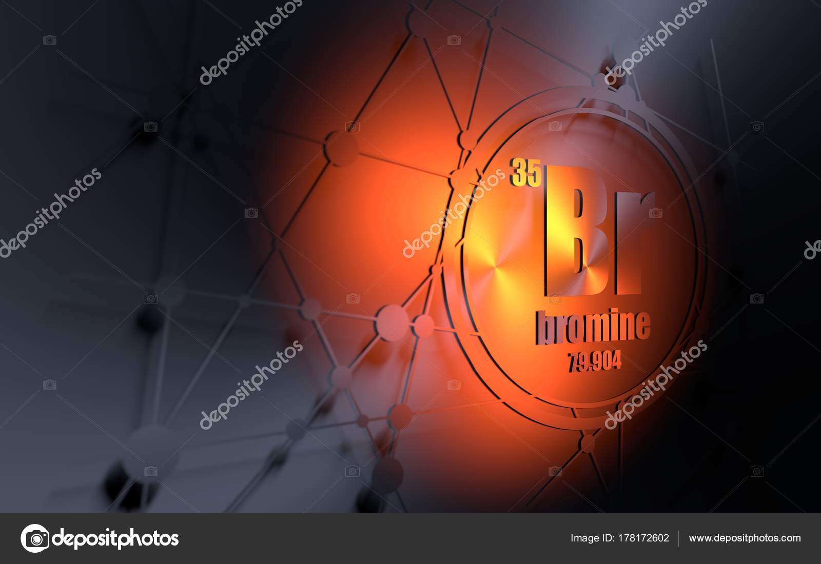 bromine chemical element sign with atomic number and atomic weight chemical element of periodic table molecule and communication background - Bromine Periodic Table Atomic Number