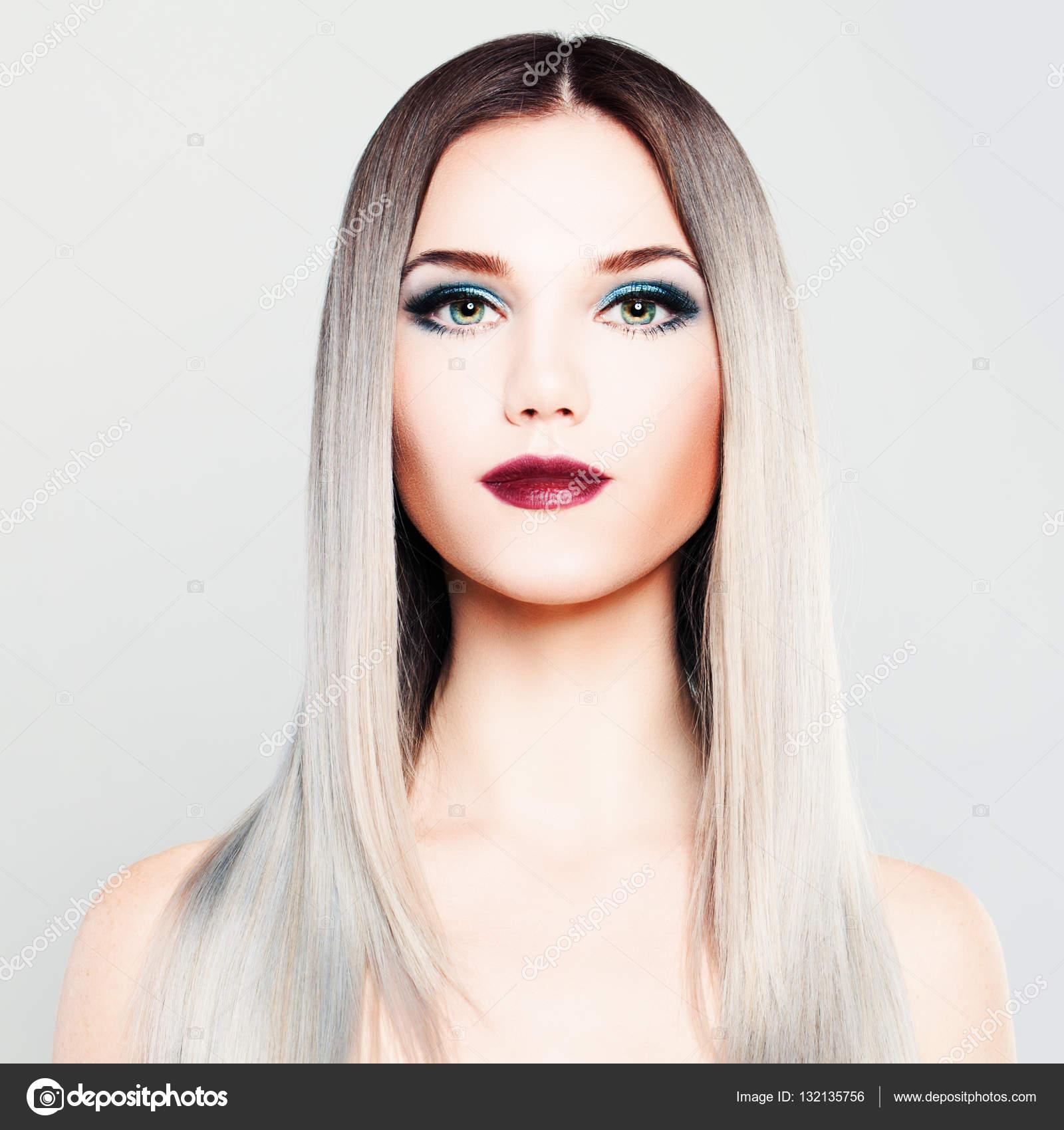 Modelo de moda de mujer elegante con maquillaje y degradado para ...