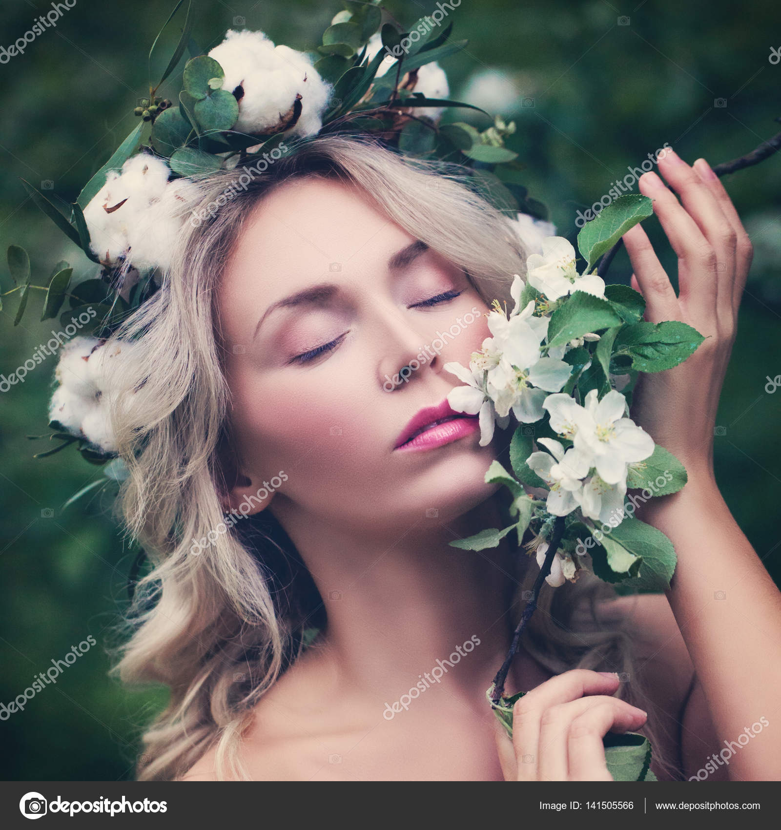 Relaxing woman with flowers outdoors beautiful woman with white relaxing woman with flowers outdoors beautiful woman with white stock photo izmirmasajfo