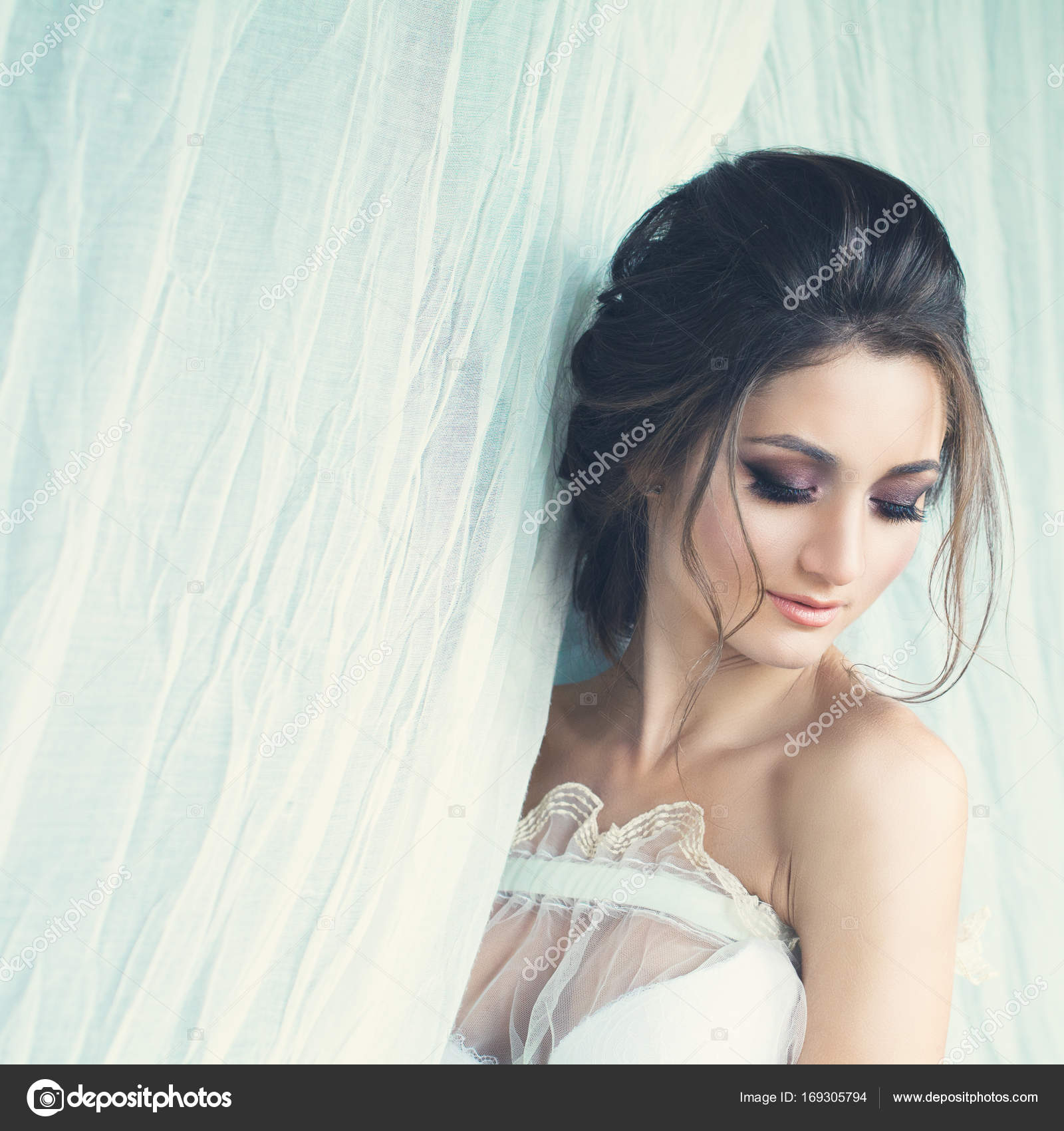 Beautiful Lady with Wedding Hairstyle and Makeup on White — Stock ...