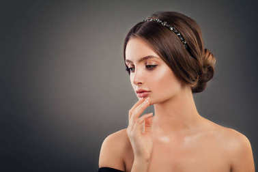 Perfect Girl Fashion Model with Wedding Hairdo, Makeup and Hair