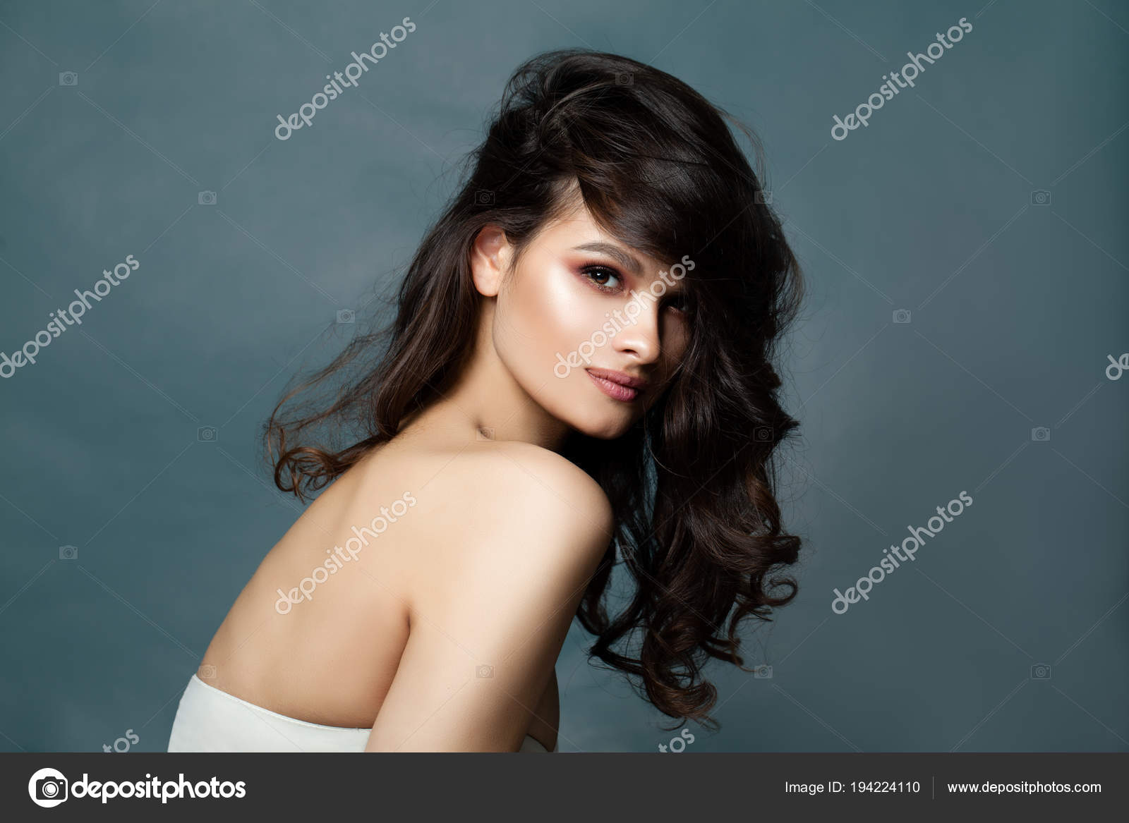 Fashion Portrait Of Beautiful Curly Hair Woman On Banner Stock Photo C Artmim 194224110