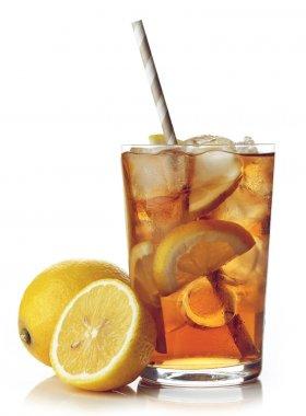 Glass of lemon ice tea isolated on white background stock vector