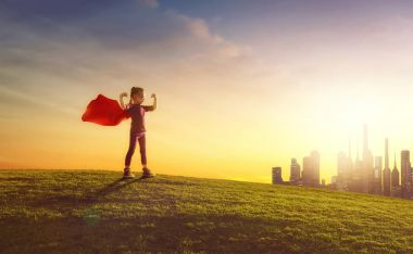 girl plays superhero