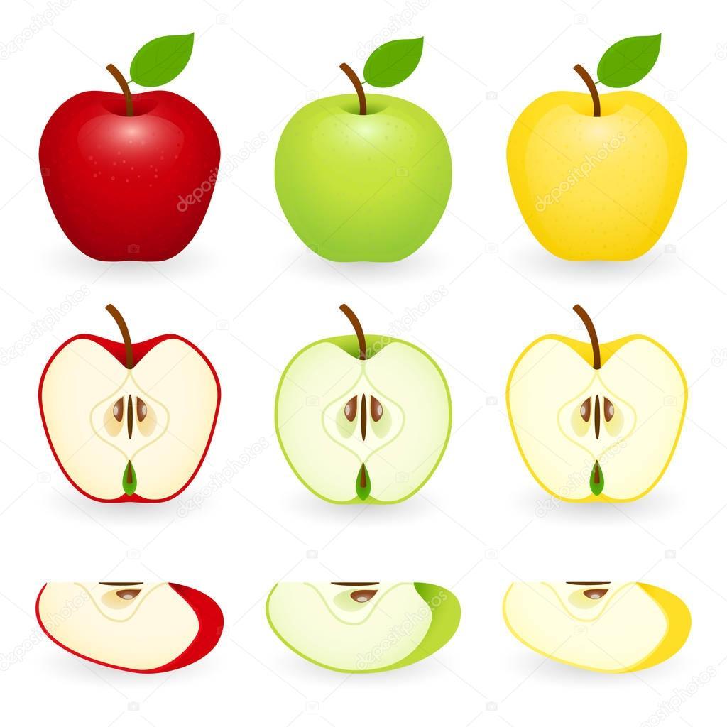 Apple slice set isolated