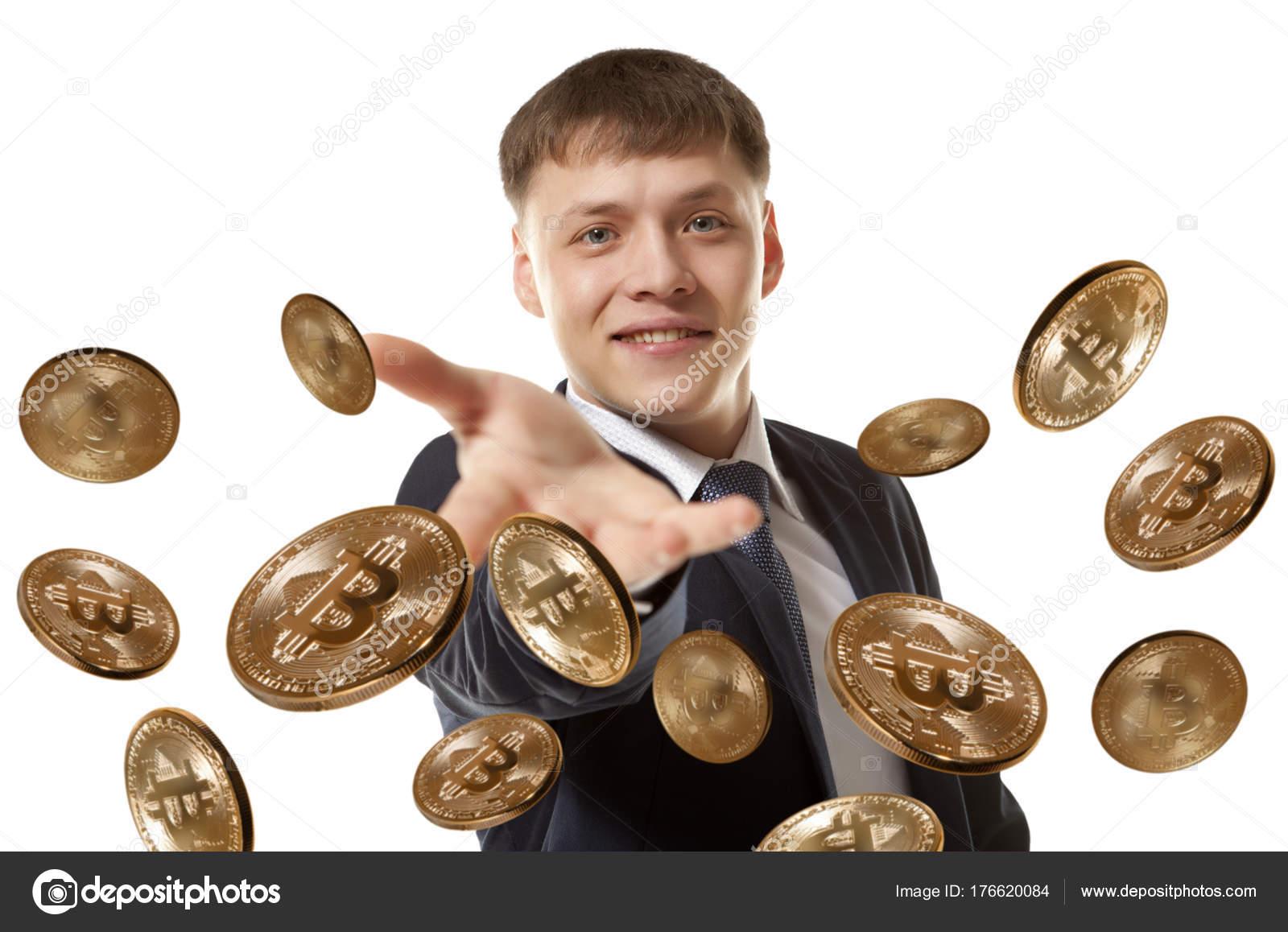Happy Businessman Throwing Bitcoin Coin Stock Editorial Photo Andreyuu 176620084