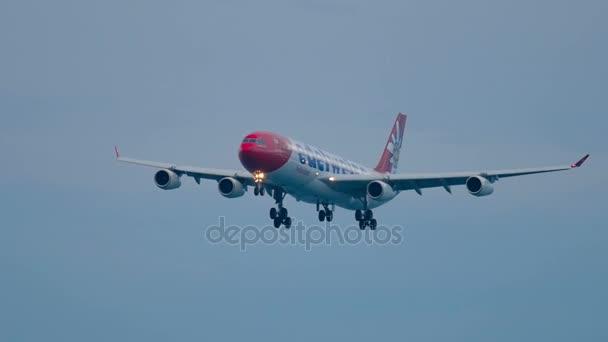 Airplane approaching before landing