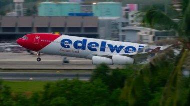 Airplane landing in Phuket airport