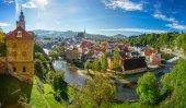 Panoramatický pohled na Český Krumlov, Česká republika