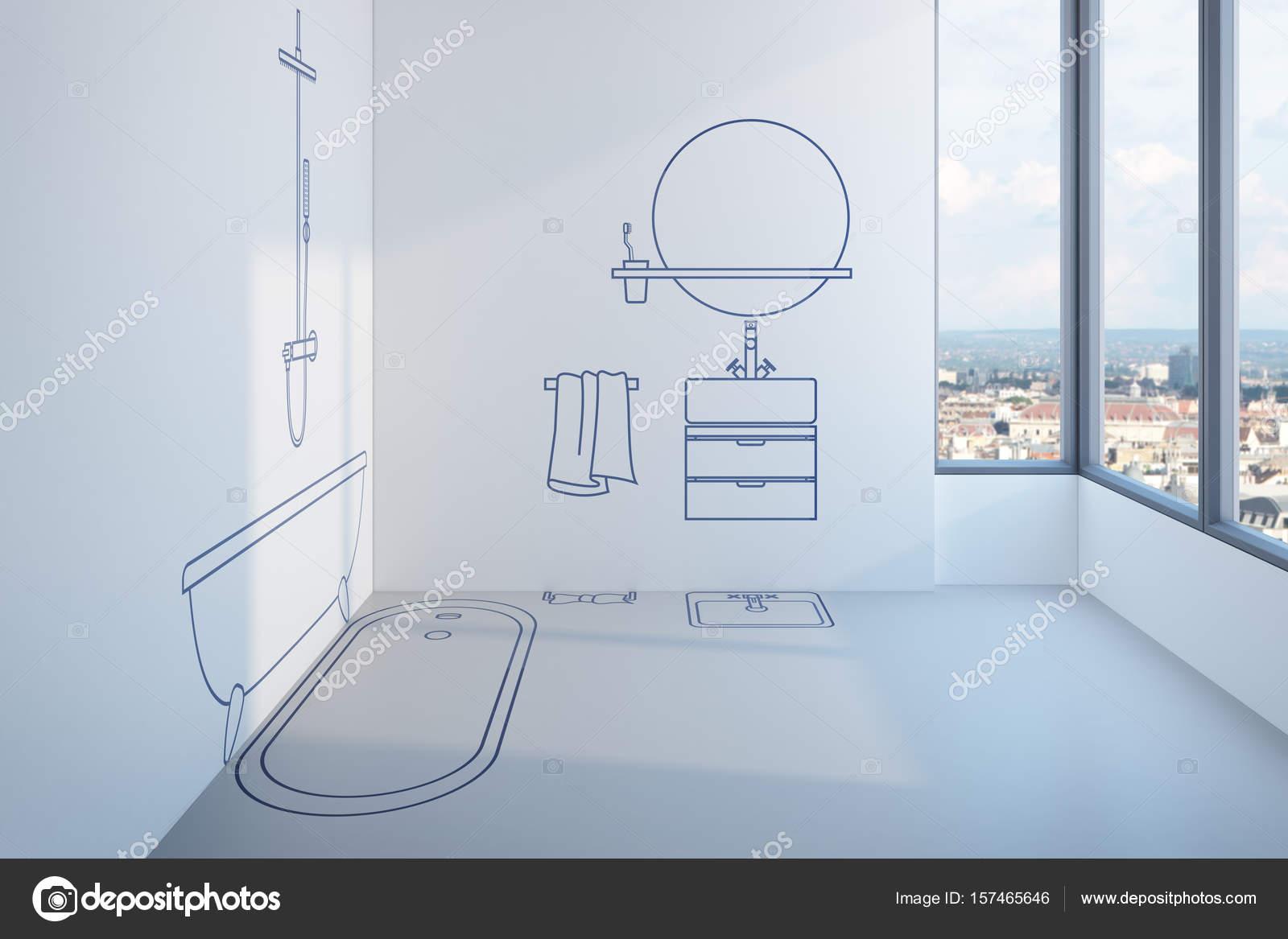 badkamer ontwerp 3d rendering van plan — Stockfoto © auriso #157465646