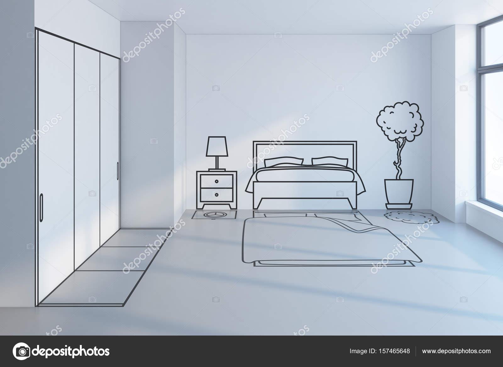 slaapkamer ontwerp 3d rendering van plan — Stockfoto © auriso #157465648
