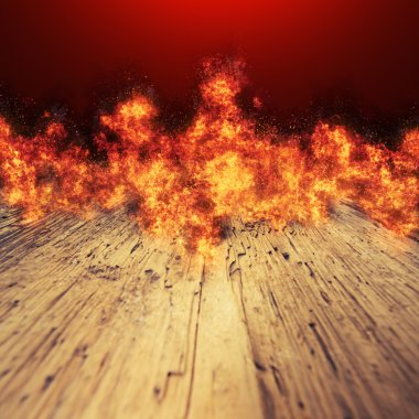 fire flames on a wood table background