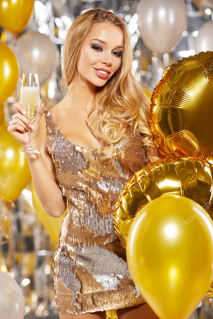 girl in evening dress with champagne glasses - new year, celebra