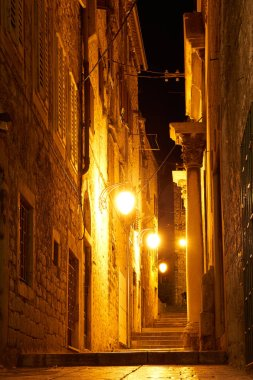 street of the old city at night