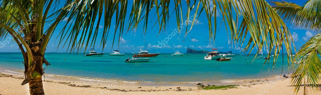 amazing panorama  beaches of Mauritius island.