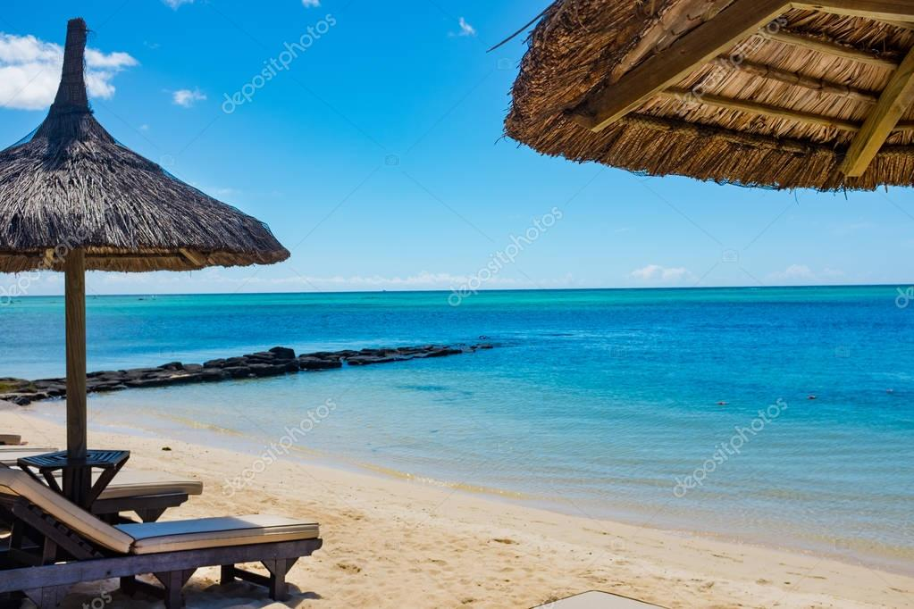 parasol in sea tropical Mauritius romantic island
