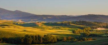 Tuscany, amazing sunset italian landscape stock vector