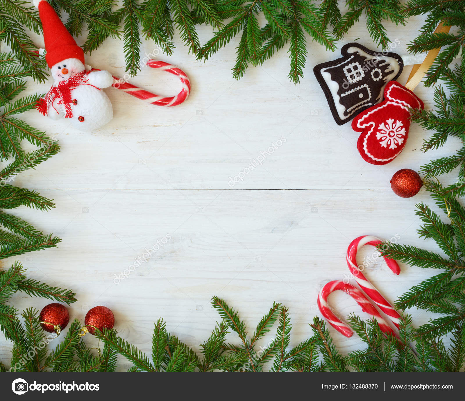 Christmas Border With Fir Tree Branches Decorations A Stock Photo