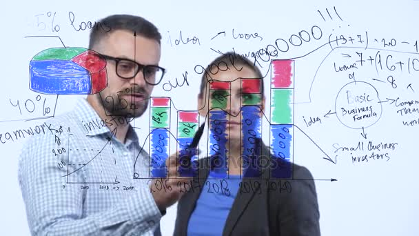 Man and woman discuss the business strategy for success in a modern glass office