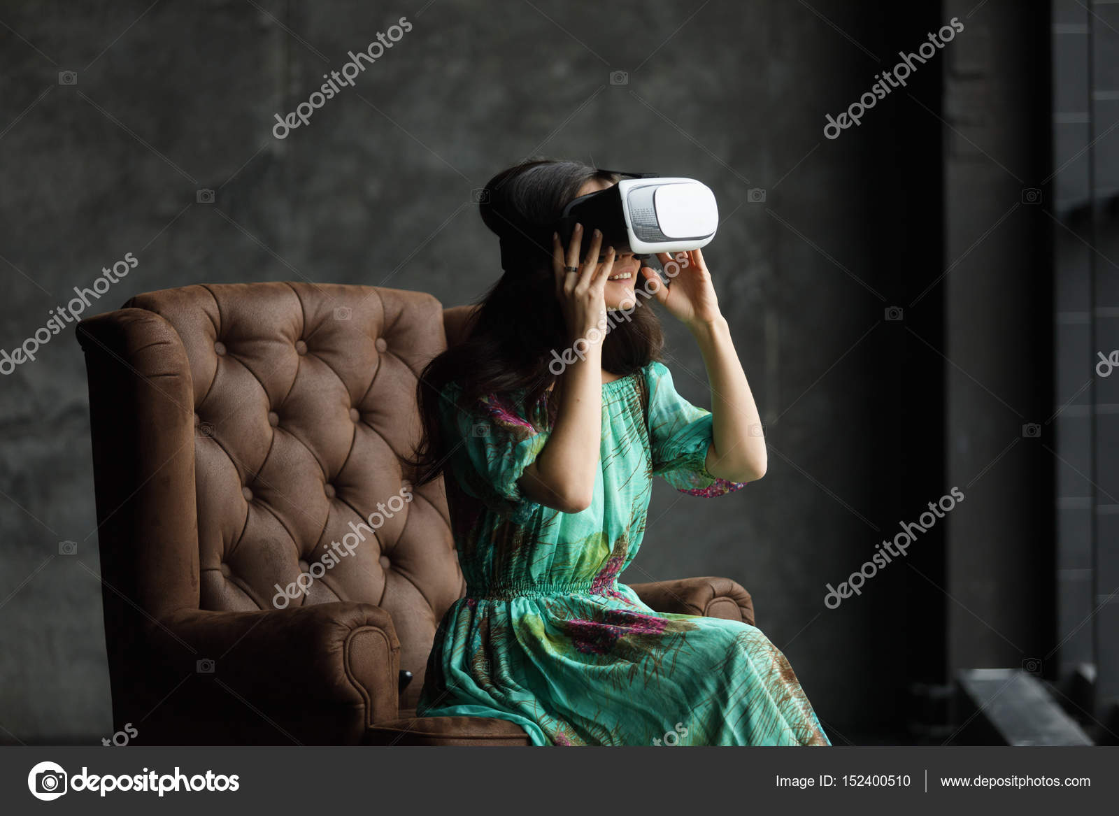 79c691b690ca New reality is here Handsome young woman in VR headset