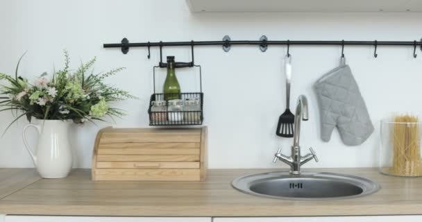 Interior view of elegant minimalist kitchen, No people.