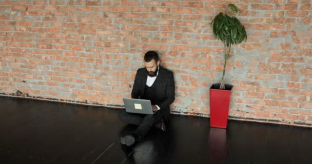 Man Working In Home Office In Loft Style Stylish Hipster Man