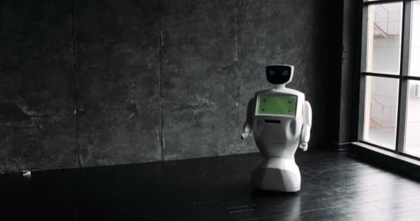 Humanoid autonóm robot megjelenés. Aranyos robot úgy néz ki, a világ