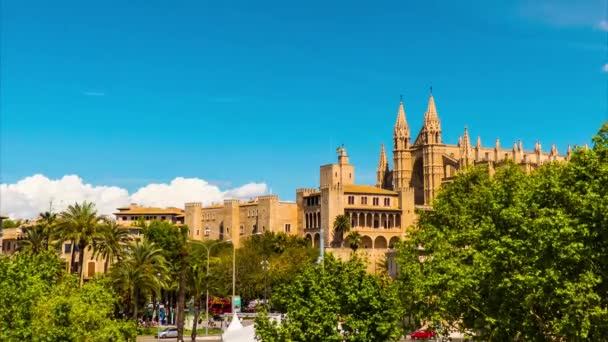 Timelapse 4k: Cathedral of Santa Maria of Palma, more commonly referred to as La Seu, is Gothic Roman Catholic cathedral located in Palma, Majorca, Spain, built on site of a pre-existing Arab mosque.