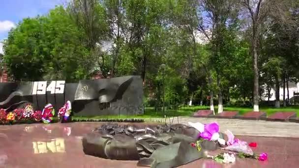 Památník s věčný plamen věnované vítězství ruských lidí ve Velké vlastenecké válce (1941-1945). Sergiev Posad, Rusko
