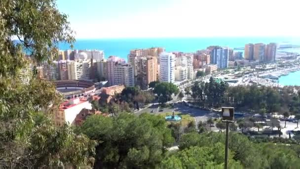 Panorama of port and central part of Malaga. Malaga is municipality in Autonomous Community of Andalusia, Spain. Southernmost large city in Europe, it lies on Costa del Sol of Mediterranean.